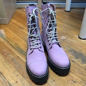 Alexa Chung Pink Leather Combat Boots